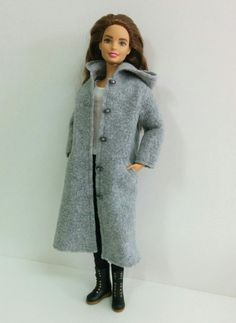 Gray Fleece Coat for Silkstone/Model Muse/Made to by SKSungDesigns