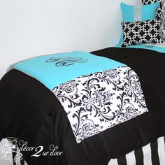 Tiffany Dorm Décor and More! Available in all bed sizes: twin, full/queen, and king. Custom pillows, exclusive bed scarf, window panels, wall art, bed skirts, and custom monogramming! Custom-made designer bedding and accessories.