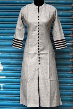 greymangalgirikurta, with blacktrims on sleeve and potlibuttons in black.to complete this look, add a dash of colour with the option of the chiffon dupat Salwar Neck Patterns, Kurti Neck Designs, Blouse Designs, Dress Patterns, Suits For Women, Ladies Suits, Ladies Dresses, Latest Kurti, Suit Pattern