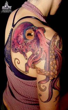 Really beautiful octopus or kraken. Life Tattoos, Body Art Tattoos, Cool Tattoos, Awesome Tattoos, Arm Tattoos, Tatoos, Epic Tattoo, Tattoo You, Octopus Tattoos