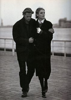 #vintage Mark Vanderloo & Bridget Hall photographed by Jacques Olivar for Marie Claire magazine US September 1994