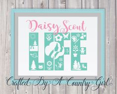 """This listing is for a """" Daisy Scout Life """" Digital ZIP File for instant download. Digital Files are perfect for electronic cutting machines like the Cricut Explore, Silhouette Cameo and other Die Cutters.  Other Uses May Include: • Scrapbooking • Clipart • Greeting Cards and Invitations • Coffee Mugs • Invites & Party Printable • T Shirts • Vinyl Design • Glass Blocks • Iron on • Wall Decal • Car Decals • Silhouette Cameo • Cricut Heat Transfer Vinyl   YOU MAY ALSO LIKE: TROOP NUMBER DESI..."""