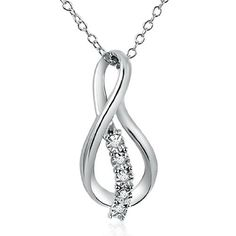 """Journey Diamond Infinity Pendant-Necklace in Sterling Silver on an 18"""" Chain .04cttw Amanda Rose Collection. $59.95. 18"""" Sterling Chain. .04ct tw. Sterling Silver. All of our diamond suppliers and MLG state that to the best or their/our knowledge that all of our diamonds are conflict free.. Save 52% Off!"""