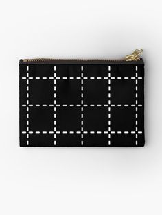 Stitch Grid Printed Zipper Pouch | Elke + Blue collection by MeetMinnie #fashion #accessories #bags #bag #blackandwhite #plaid #grid