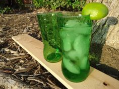 Juice Glasses made from Upcycled Sprite bottles.  Art deco and green all in one :) Made by ConversationGlass, $30.00 Set of 4