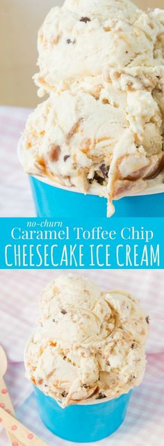 No-Churn Caramel Toffee Chip Cheesecake Ice Cream ! A delicious, simple cheesecake-flavored ice cream recipe filled with caramel, toffee and chocolate chips. Only seven ingredients and no ice cream machine needed! Ice Cream Cupcakes, Ice Cream Treats, Ice Cream Desserts, Frozen Desserts, Ice Cream Recipes, Frozen Treats, Ice Cream Machine Recipes, Ice Cream Flavors, Homemade Icecream Recipes