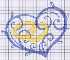 cuore con fedi per cuscino matrimonio - punto croce