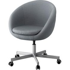IKEA SKRUVSTA Swivel chair Flackarp medium grey You sit comfortably since the chair is adjustable in height. Grey Desk Chair, Diy Chair, Chaise Ikea, Plastic Adirondack Chairs, Chair Makeover, Bedroom Chair, Accent Chairs For Living Room, Cool Chairs, Swivel Chair