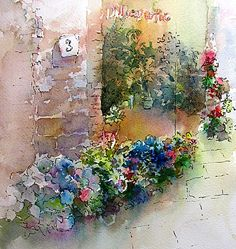 "Beyond Paradise; Watercolor, ""Italian Flower Shop"""
