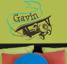 personalized vintage airplane would look great in a boy's room above the bed!  It even has Gavin's name already!