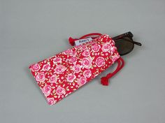 Sunglasses/razor/phone bag  red cotton canvas by LizzyMullender.etsy.com