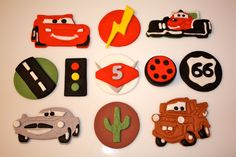 Fondant CARS and FRIENDS RACE Set - Cupcake, and Cookie Toppers