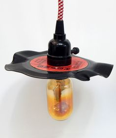 Custom Upcycled 45 Vinyl Record Plug-in Pendant Light for $59.00 plus shipping  #Vintporium