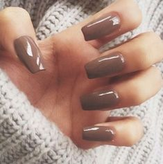 Light Brown Square Tip Acrylic Nails