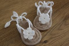 >> Click to Buy << Free shipping,Crochet baby sandals, gladiator sandals, booties, shoes, slippers, flower, white, tan, gift Size:9cm,10cm,11cm #Affiliate