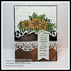 Ribbon Store, White Paint Pen, Peace Of God, Fall Cards, Fall Flowers, Distress Ink, Flower Shape, Clear Stamps, Christmas Traditions