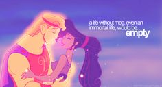 Hercules and Meg ♡ hercules is one of my favorite disney guys because he chose a life with her over being an immortal god, I mean talk about love