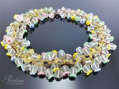 Vintage Unsigned Miriam Haskell Celluloid Chain Glass Bead Flower WWII Necklace #MiriamHaskell #Collar $495