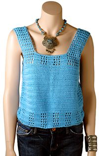This easy crochet pattern is great for the summer months. Keep your arms nice and bare while the sun shines down on you. This is a nice and cool tank.