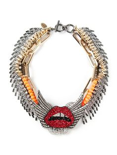 Shop VENNA spiked mouth collar necklace from Farfetch