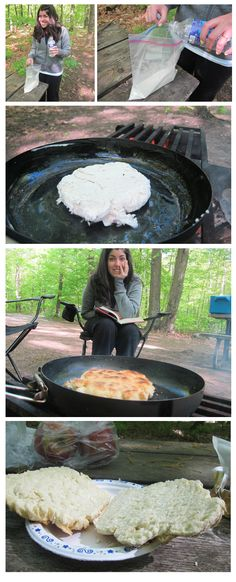 Bannock Bread 1 cup flour  1 tsp baking soda 1/4 tsp salt Add enough water to make a firm dough Form into cake 1 inch thick Fry in a greased pan