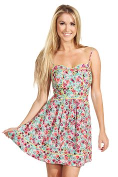 The Sugarlips Bright Blooms Dress is a cute multicolor chiffon floral fit and flare dress. Features neon piping along the waist and bust for a nice pop of color. Dress it up with a pair of nude heels and a neon clutch, or dress it down with a pair of converse and a denim jacket. #MyLuluCloset #Sugarlips #Storenvy #Sales #Dress