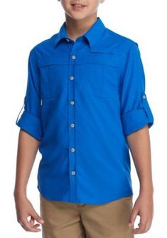 J. Khaki Boys' Fishing Shirt Boys 8-20 - Blue Ridge - Xl