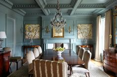 I love a room where the walls, ceiling and architectural details are all painted the same color, especially when it's a color that can read ...
