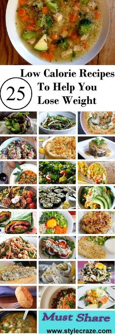 Low Calorie Recipes For Weight Loss: Low calorie diet can be very good when you are working out or trying to shed some pounds. Here are our 25 low calorie recipes which you can try out. The best way to weight loss in - READ MORE! Healthy Low Calorie Dinner, Low Calorie Dinners, No Calorie Foods, Low Calorie Recipes, No Carb Diets, Diet Recipes, Healthy Recipes, Delicious Recipes, Very Low Calorie Diet