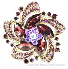 Huge Amethyst Rhinestone Pin Ebay Store: Vintage Jewelry Treasures $34.99