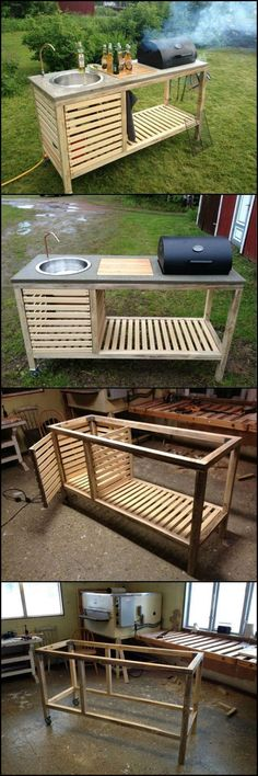 How To Build A Portable Kitchen For Your Backyard theownerbuilderne. Outdoor kitchens have so many benefits and advantages but cost, usually, isn? need an expensive and full size outdoor kitchen. It just has to be functional an Backyard Projects, Outdoor Projects, Home Projects, Pallet Projects, Woodworking Projects, Wood Projects That Sell, Woodworking Clamps, Custom Woodworking, Teds Woodworking