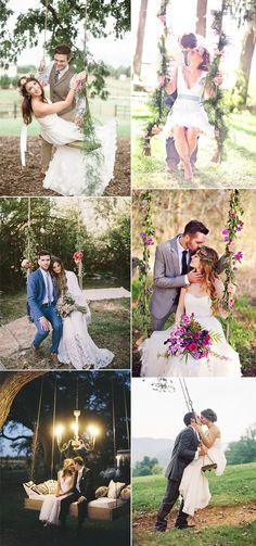 sweet couples on wedding swings