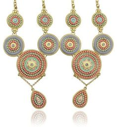 ethnic gold plated round pendant