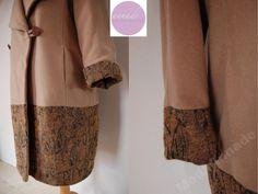 Płaszcz zimowy, wełna-kaszmir, rękodzieło, 48-50