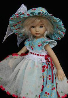"Vintage Cherries OOAK Outfit for Effner 13"" Little Darling ~ by Glorias Garden"