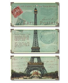 A different way to show the Eiffel Tower, vertical triptych with travel hardware accent.     Uttermost Wall Art, Eiffel Tower Carte Postale Triptych
