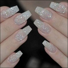 There are three kinds of fake nails which all come from the family of plastics. Acrylic nails are a liquid and powder mix. They are mixed in front of you and then they are brushed onto your nails and shaped. These nails are air dried. Glitter Tip Nails, Pink Nails, Sparkly Acrylic Nails, Gold Manicure, Silver Sparkle Nails, Glitter Art, Manicure Ideas, Clear Nails, White And Silver Nails