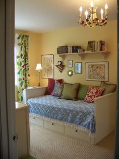 pottery barn daybed cover window curtain chandelier pillows shelf books wall decors lamp traditional bedroom of Cool Things to Get Ideas From if You're Looking for a Pottery Barn Daybed Cover