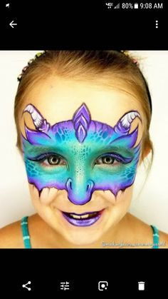 Dinosaur Face Painting, Monster Face Painting, Dragon Face Painting, Eye Face Painting, Face Painting For Boys, Face Art, Body Painting, Animal Face Paintings, Animal Faces