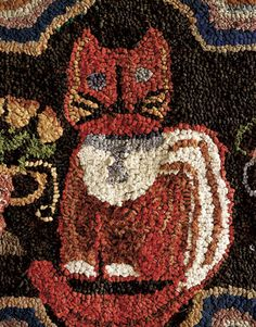 red cat hooked rug