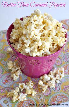 BETTER than Caramel Popcorn- trust me, you'll want to try this! Butter, with a … BETTER than Caramel Popcorn- trust me, you'll want to try this! Butter, with a Side of Bread Yummy Snacks, Snack Recipes, Dessert Recipes, Yummy Food, Dessert Healthy, Nutella, Popcorn Snacks, Sweet Popcorn Recipes, Gourmet Popcorn