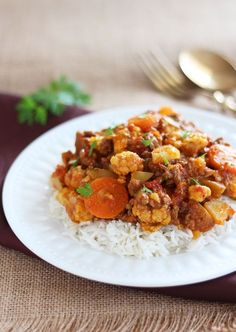 This delicious recipe for Cauliflower Ground Beef Curry makes a easy and delicious comfort food meal for the entire family.