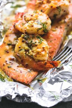 Frugal Food Items - How To Prepare Dinner And Luxuriate In Delightful Meals Without Having Shelling Out A Fortune Garlic Dijon Shrimp and Salmon Foil Packs Baked Salmon Recipes, Fish Recipes, Seafood Recipes, Cooking Recipes, Healthy Recipes, Healthy Menu, Salmon Dishes, Fish Dishes, Seafood Dishes