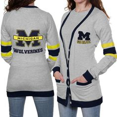 Michigan Wolverines Ladies Ash Study Hall Long Sleeve Cardigan