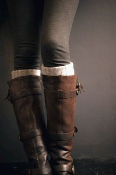 boots with leg warmers and leggings