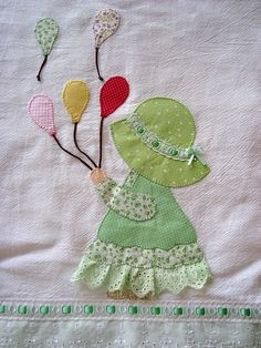Sunbonnet Sue pic love balloons and ruffle on skirt bottom.