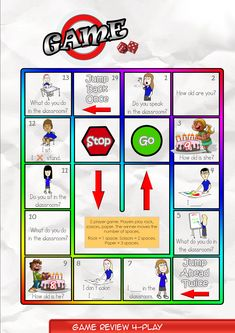 Game Board 4   Contents-Game Review booklet and theme flashcards.  Contains Everyday English, game review, grammar summary and worksheets.  Everyday English: How old are you? Happy birthday, Sam. How old are you? I'm eight years old. I am nine.  Theme: Classroom Verbs sit, stand, draw, color,  read, write, listen, speak.  Grammar: Present Simple  I sit.  I don't stand. What do you do in the classroom?  Do you draw in the classroom?