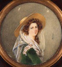 Antiguo 1700s-1800s jóvenes Belleza Y Sombrero Retrato Pintura Miniatura Firmado Guiard