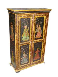 Asian Antique Furniture Tribal Painted Wooden Armoire Cabinet Chest From India Style Decor by Mogulinterior, http://www.amazon.com/dp/B00BEUAHYY/ref=cm_sw_r_pi_dp_-yQnrb089TC3Q