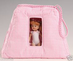Offered for sale in an Ebay 10 day auction. Vogue-Pink-Check-Cloth-Carrying-Case-5-5-in-Mini-Ginny-Dolls-New